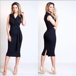 Elise Black Wrap Collar Dress